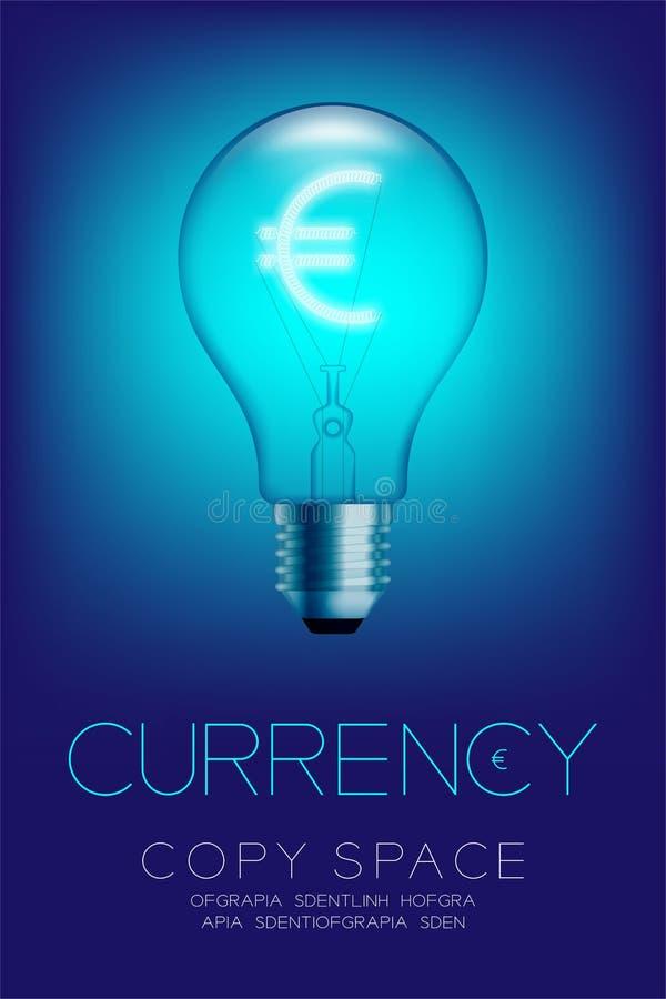 Commutatore della lampadina della luce a incandescenza di alfabeto su valuta EUR dell'insieme royalty illustrazione gratis