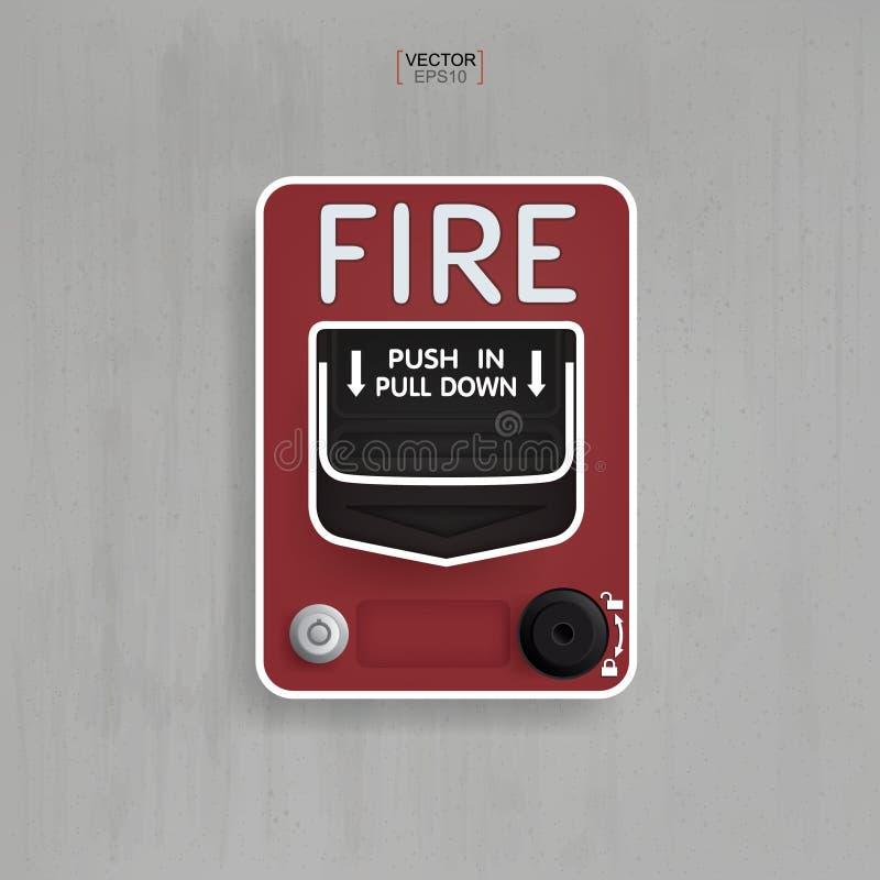 Commutatore rosso dell'allarme antincendio su fondo concreto grigio Vettore royalty illustrazione gratis