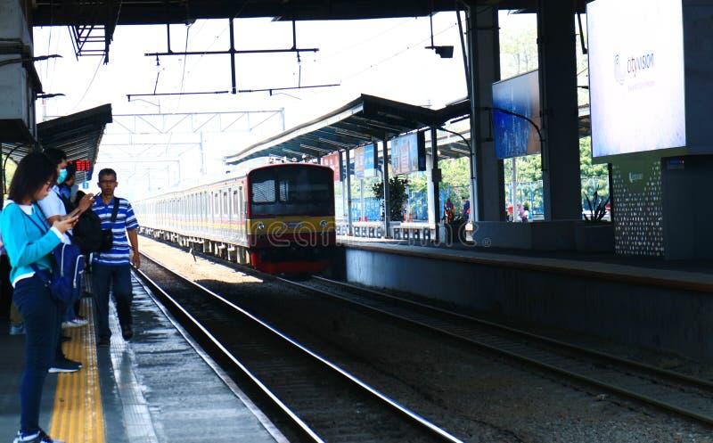 Commuter line at Depok Baru Station. Depok, Indonesia - October 1, 2019: Commuter line train at Depok Baru Station stock photography