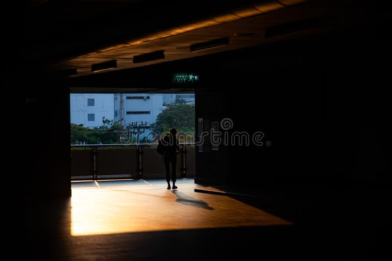 Commuter silhouettes in a station in early morning. Railway, architecture, railroad, transportation, travel, train, people, sky, passenger, urban, reflection stock image