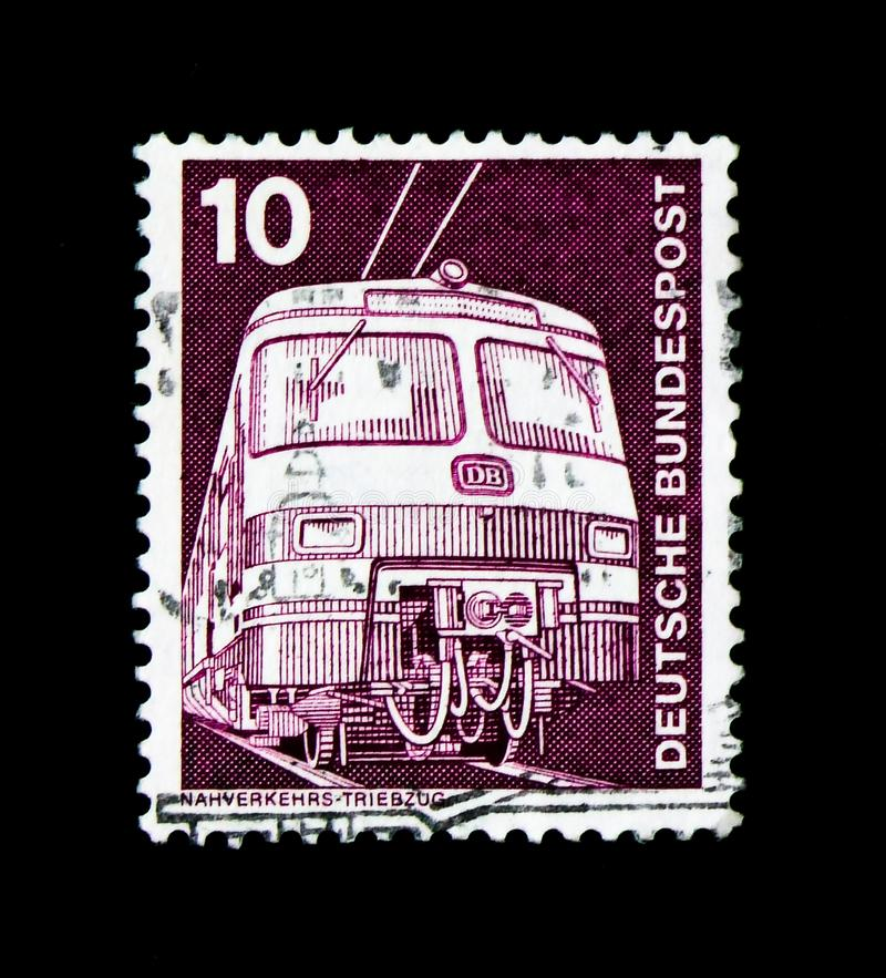 Commuter train ET 420/421, Industry and Technology Definitives 1975-1982 serie, circa 1975. MOSCOW, RUSSIA - MARCH 28, 2018: A stamp printed in German Federal stock image