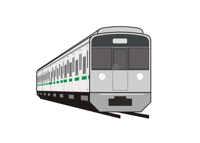 Commuter train in perspective stock illustration