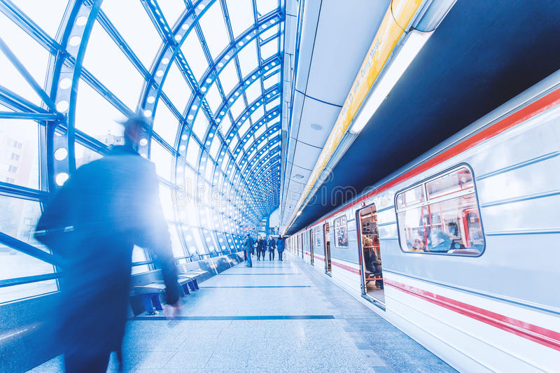 Commuter train in station stock photography