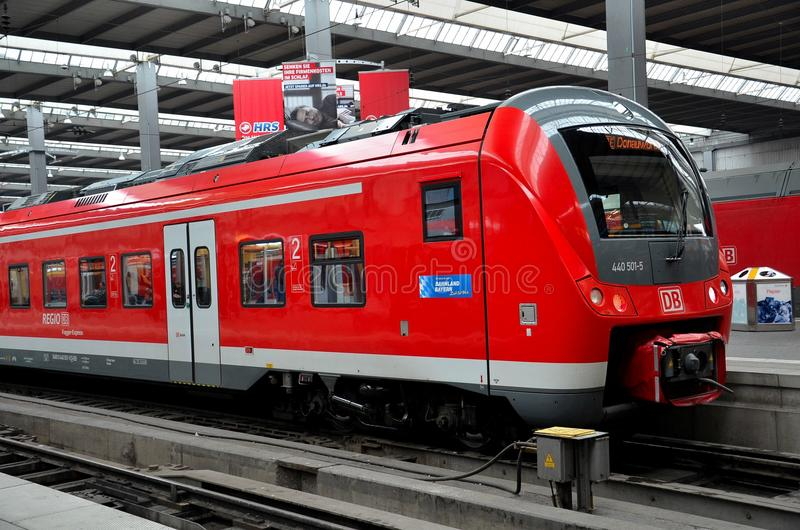 Red commuter train parked at munich station germany - Fundburo s bahn munchen ...