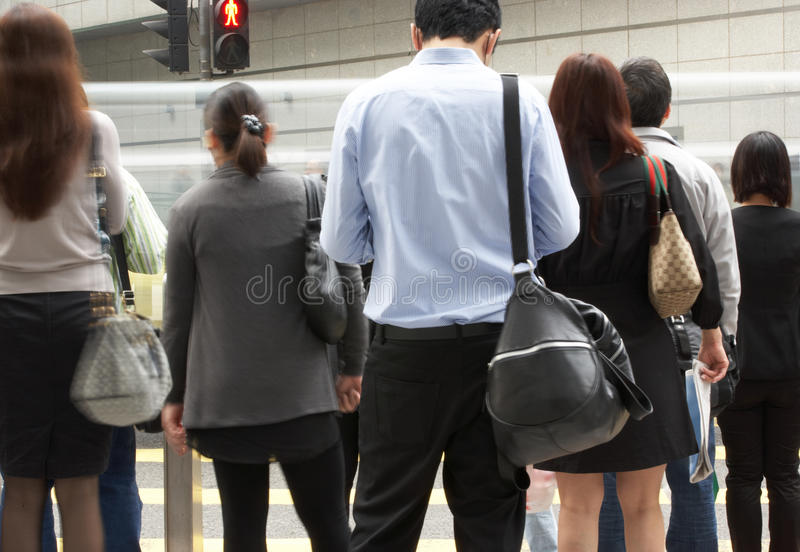 Commuters Crossing Busy Hong Kong Street Editorial Stock Photo