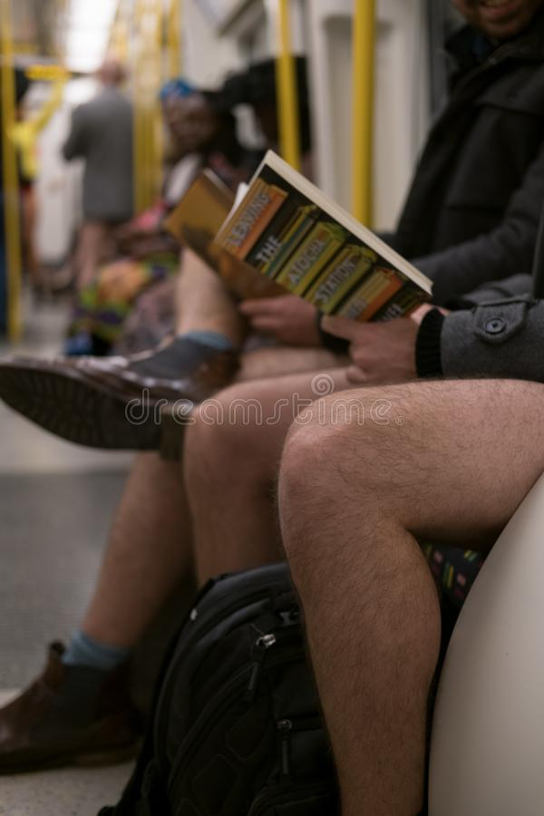 No Trousers Tube Day royalty free stock photo