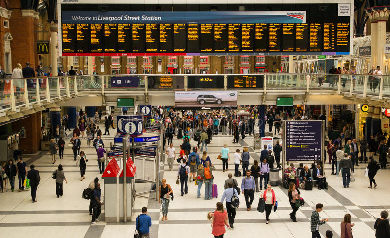 Commuters using the busy London Liverpool Street Station royalty free stock image