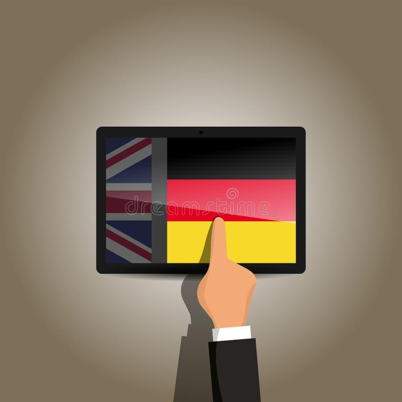 Commutez d'anglais à la plate-forme d'apprentissage en ligne de langue allemande photographie stock libre de droits