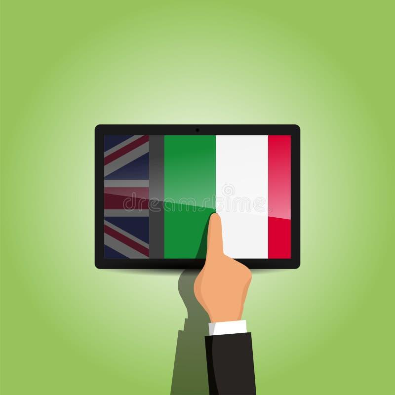 Commutez d'anglais à la plate-forme de langue italienne d'apprentissage en ligne photo libre de droits