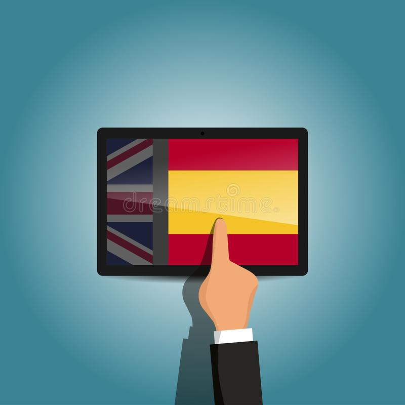 Commutez de la plate-forme anglais-espagnol d'apprentissage en ligne de langue photos libres de droits