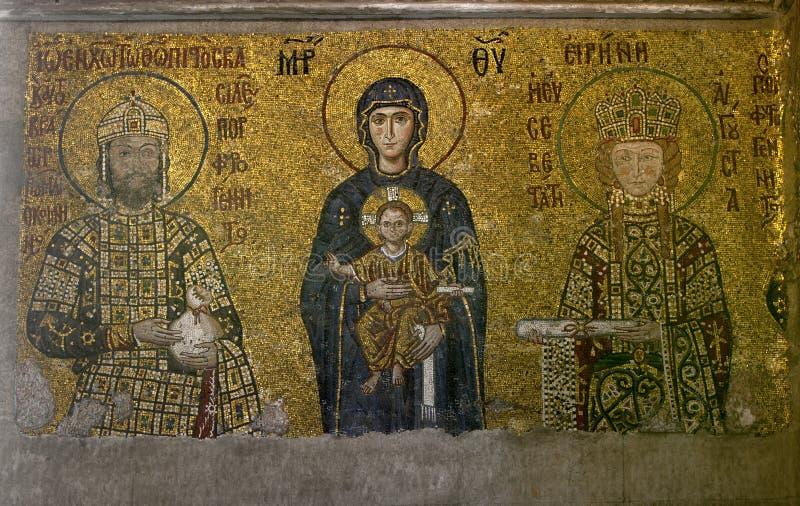 The Comnenus mosaics 12th-century in in Aya Sofya in Istanbul in Turkey. The Comnenus mosaics 12th-century in in Aya Sofya the former basilica Hagia Sophia of stock image