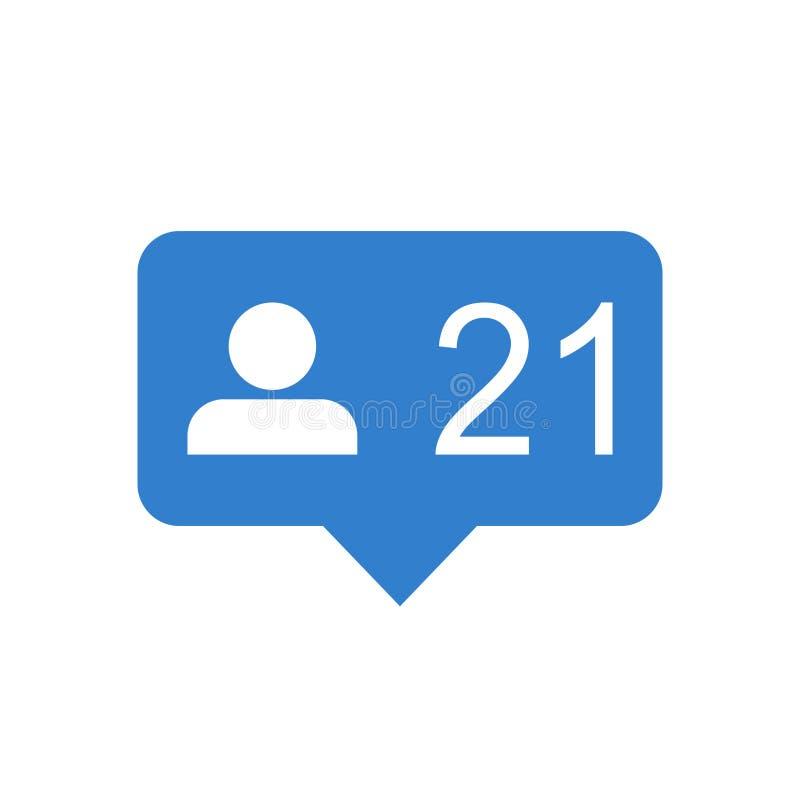 Como, comentário, ícone do seguidor Ilustração lisa azul do vetor com ilustração do vetor