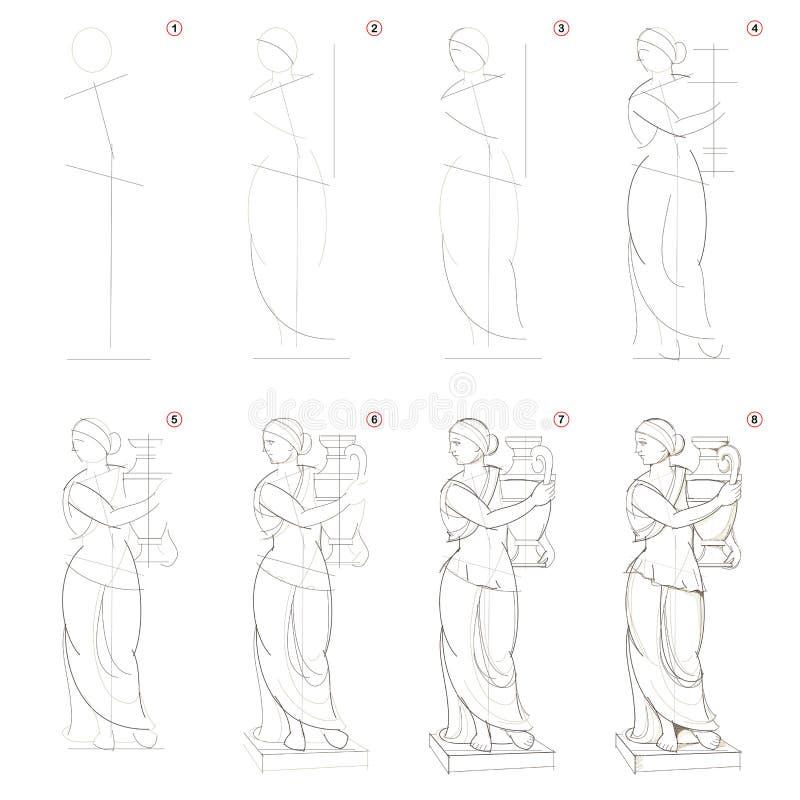 Como criar o desenho de lápis passo a passo A página mostra como aprender a estátua grega imaginária das mulheres da tração passo ilustração royalty free
