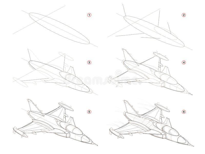 Como criar o desenho de lápis passo a passo A página mostra como aprender o navio de guerra fantástico do espaço da tração passo  ilustração do vetor