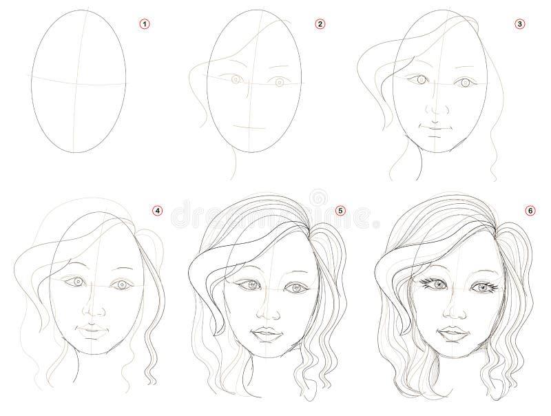 Como criar o desenho de lápis passo a passo A página mostra como aprender o retrato passo a passo das meninas da fantasia da traç ilustração royalty free