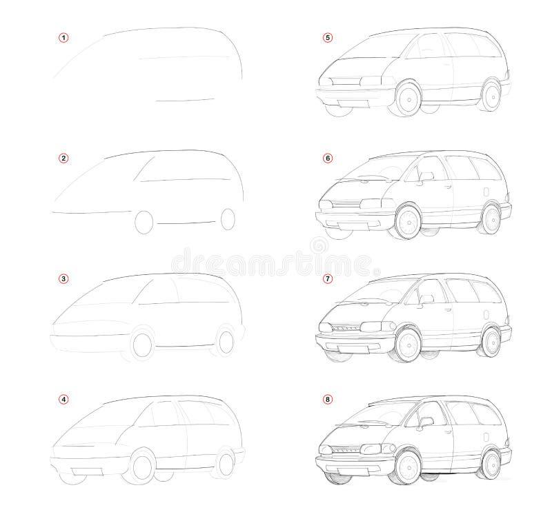 Como crie o desenho de lápis passo a passo A página mostra como aprender sucessivamente o automóvel de passageiros da tração c ilustração do vetor