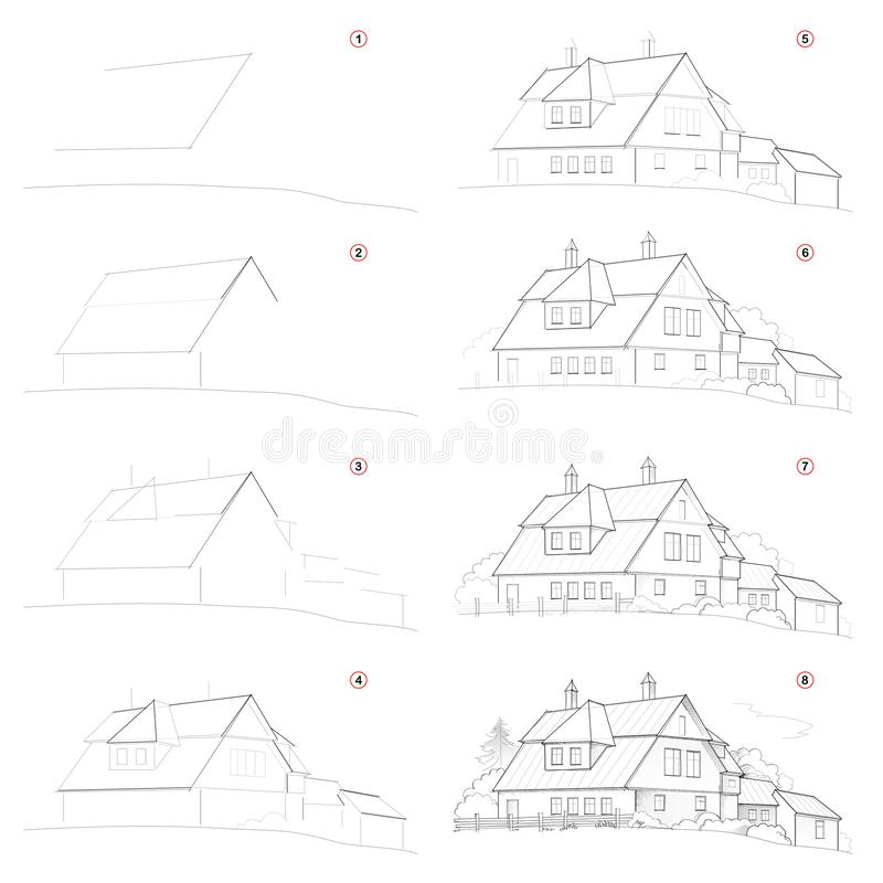 Como crie o desenho de lápis passo a passo A página mostra como aprender sucessivamente a casa de campo bonito da tração ilustração stock