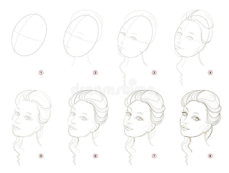 Como crie o desenho de lápis passo a passo A página mostra como aprender sucessivamente a menina bonita imaginária da tração ilustração stock