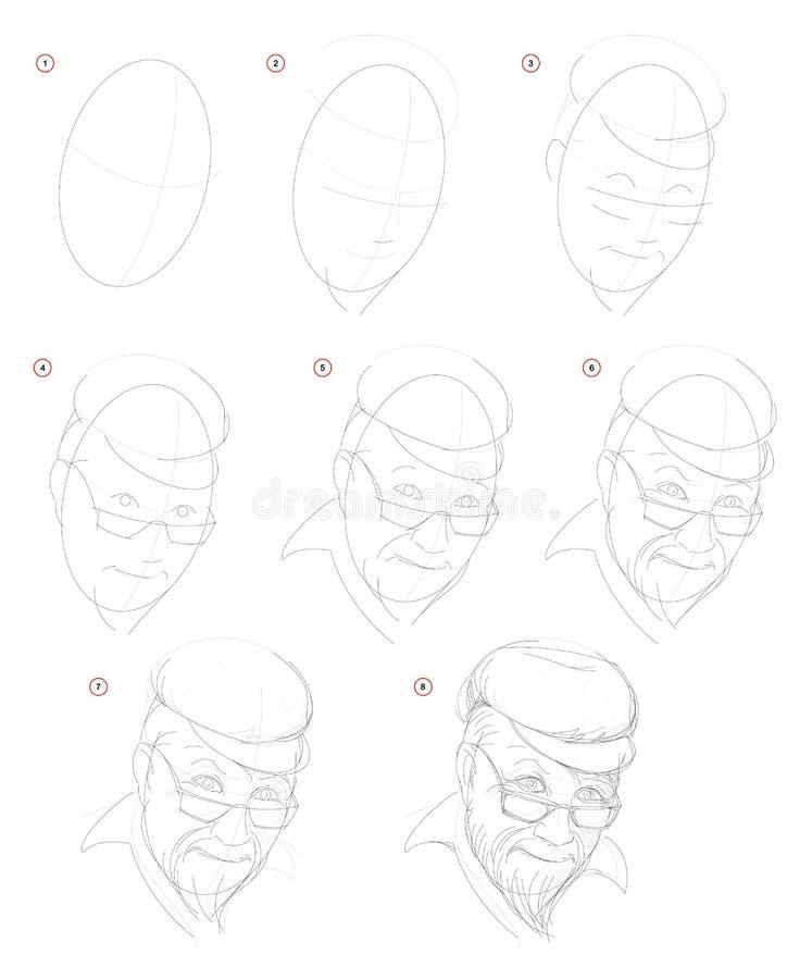 Como crie o desenho de lápis passo a passo A página mostra como aprender sucessivamente o retrato imaginário da tração do ancião ilustração do vetor