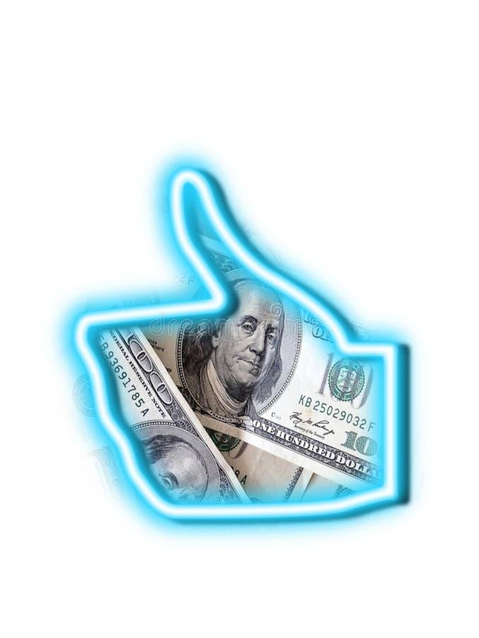 Como dos polegares do dinheiro acima foto de stock