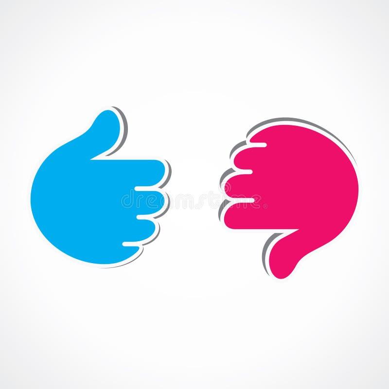 Como e ao contrário do símbolo da mão ilustração do vetor