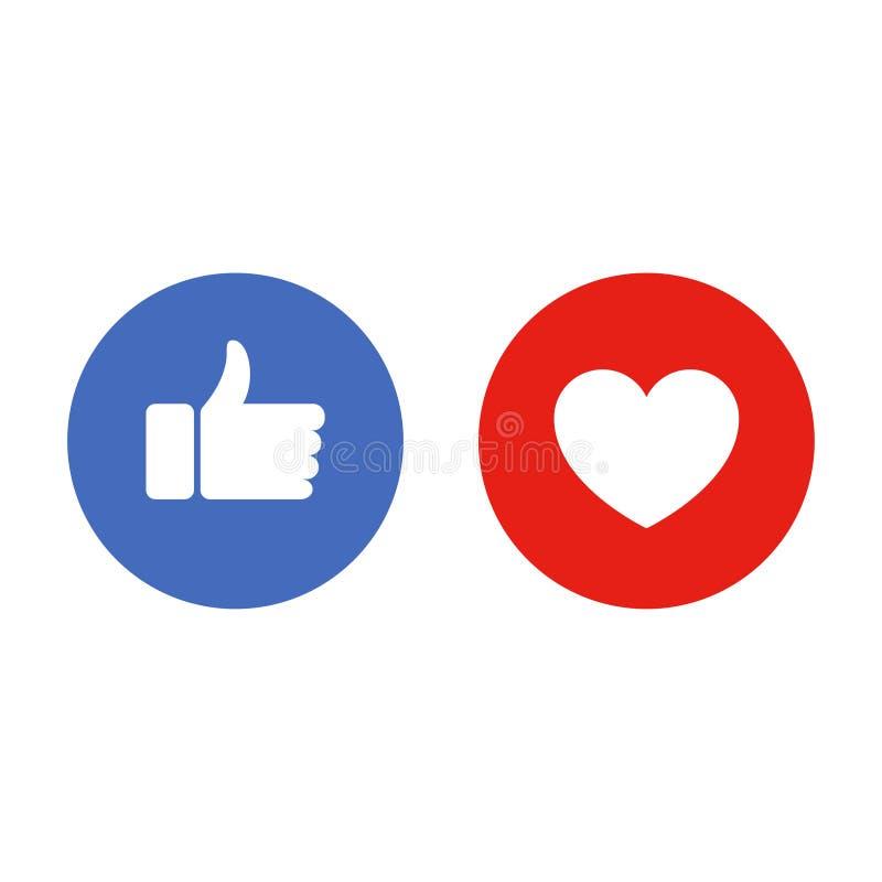 Como e do coração ícones Os polegares levantam e amam - botões sociais dos meios Vetor ilustração do vetor