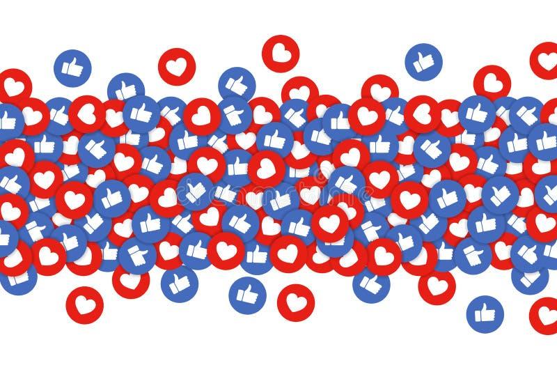 Como e do coração fundo dos ícones Os polegares levantam e os botões vermelhos do coração fluem, conceito da rede social, seguime ilustração royalty free