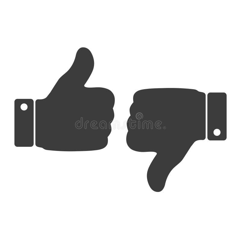 Como e do desagrado ícone Os polegares levantam e manuseiam ilustração para baixo, da mão ou do dedo no fundo transparente ilustração royalty free