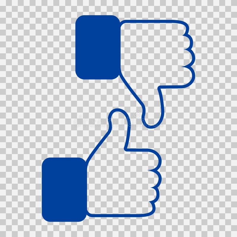 Como e do desagrado ícone Os polegares levantam e manuseiam ilustração para baixo, da mão ou do dedo no fundo transparente Símbol ilustração royalty free