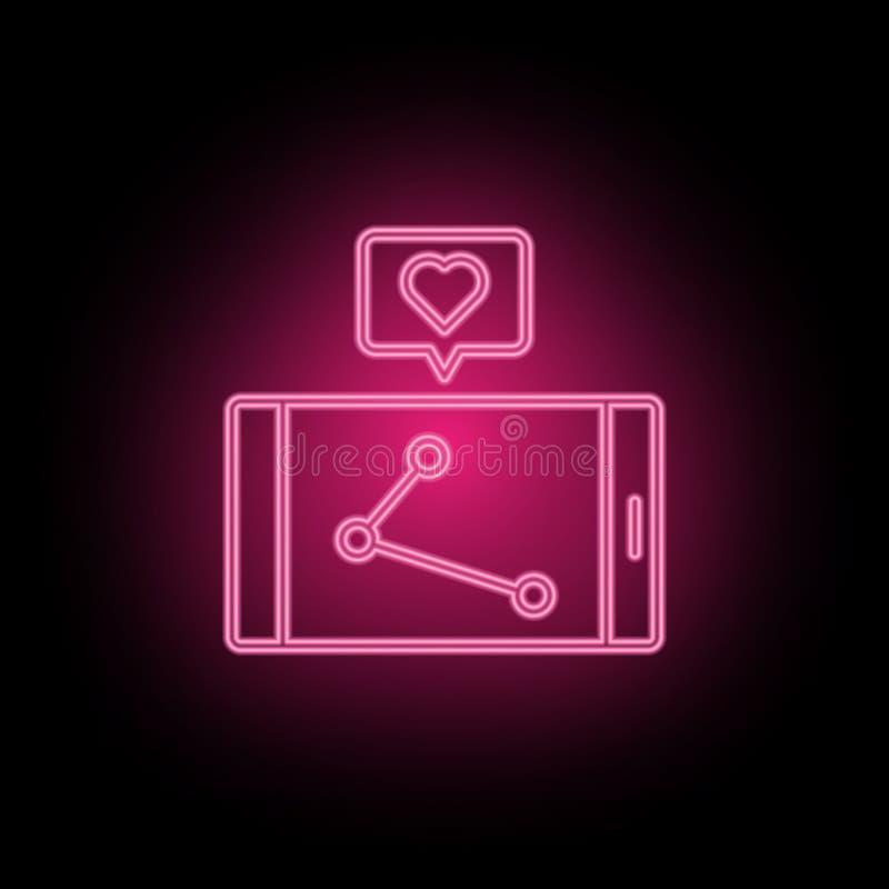 Como, el amor, icono de neón de comercialización se puede utilizar para ilustrar temas sobre la optimización de SEO, analytics de stock de ilustración