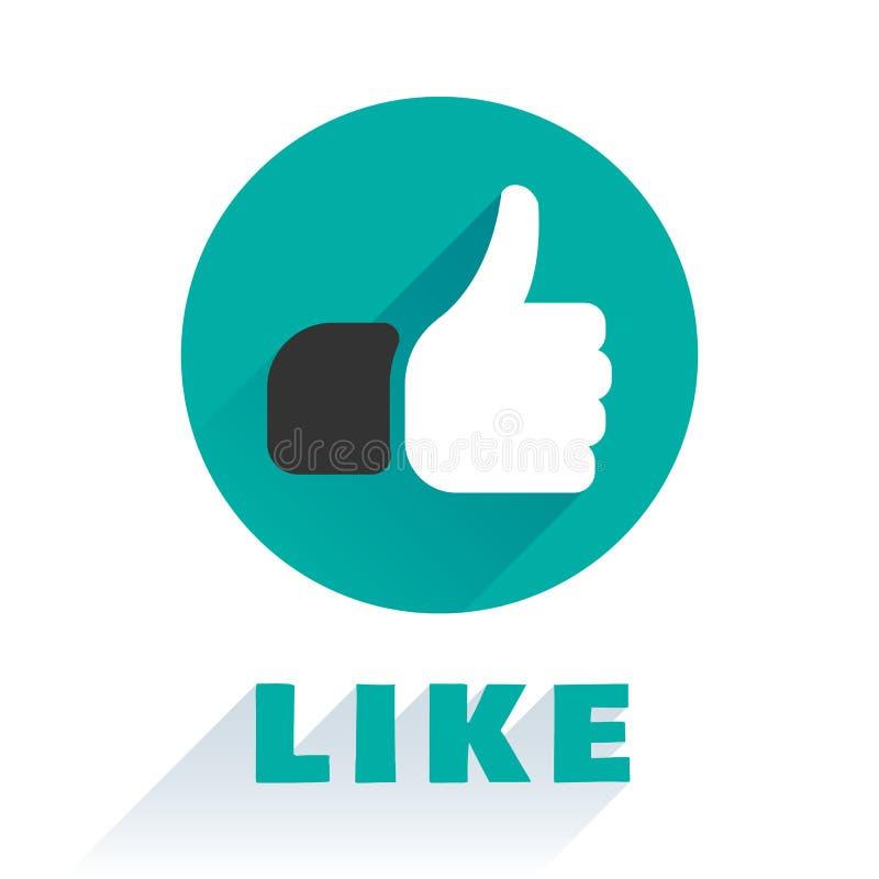 Como el icono aislado en un estilo plano Un finger encima del icono social de la insignia, del símbolo de clasificación, proyecto ilustración del vector