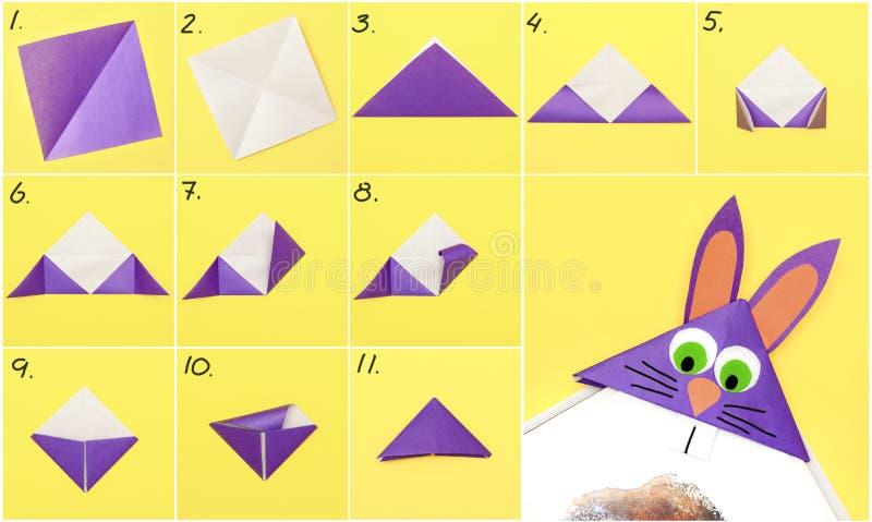 Como fazer o formulário do marcador do papel do origâmi do coelho para cumprimentos da Páscoa Conceito de DIY Instrução passo a p foto de stock royalty free
