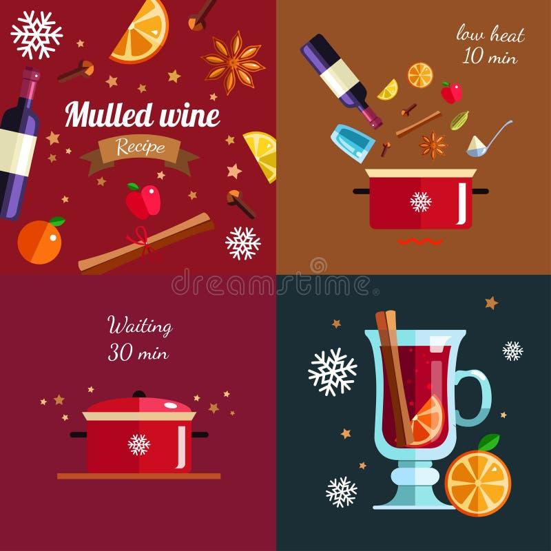 Como fazer a vinho ferventado com especiarias o conceito infographic Receita quente da bebida da estação do inverno Vetor ilustração do vetor