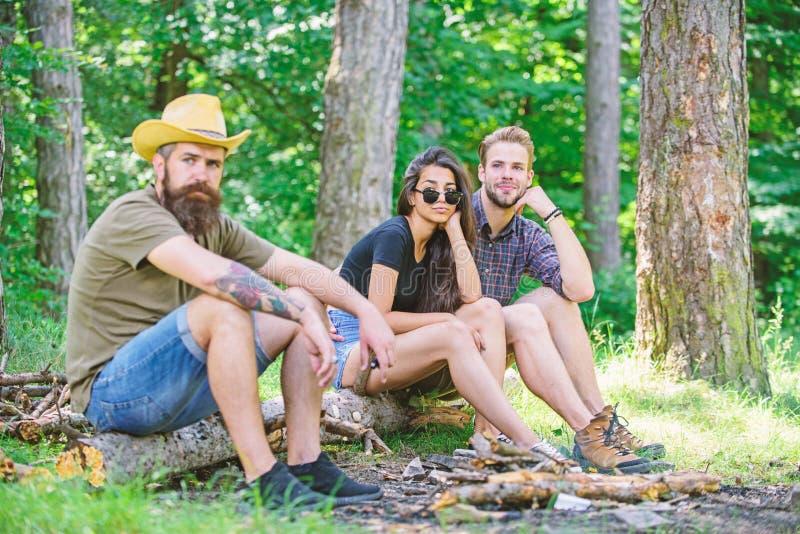 Como fogueira da construção fora Lazer de acampamento do fim de semana Fogueira de acampamento da floresta Moderno e amigos farpa imagens de stock royalty free