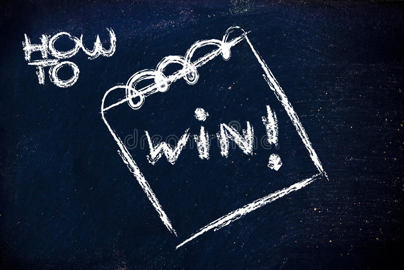 Como ganhar, mensagem no memorando no quadro-negro imagens de stock royalty free