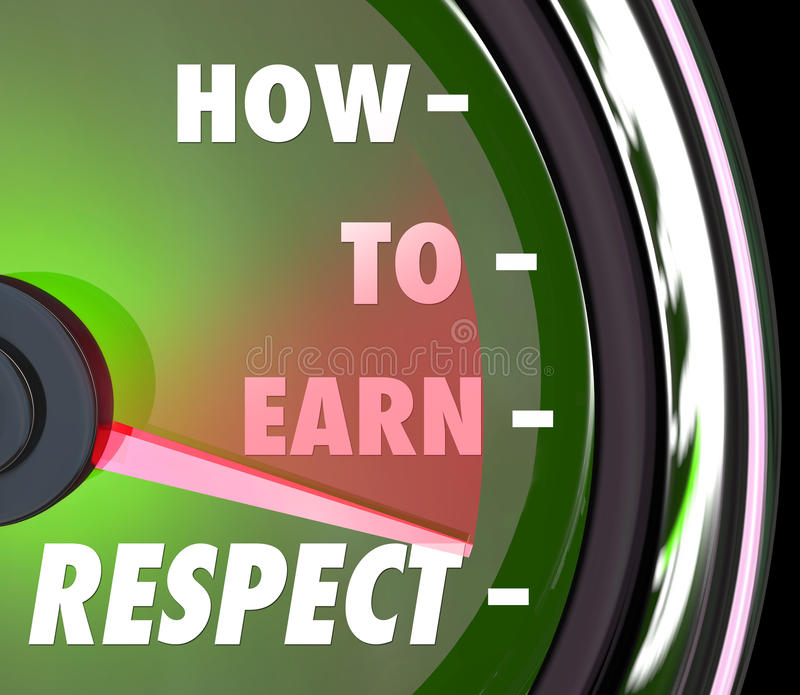Como ganhar a reverência do respeito consiga o bom nível alto da reputação ilustração stock