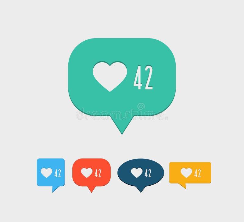 Como icono social de la notificación medios stock de ilustración