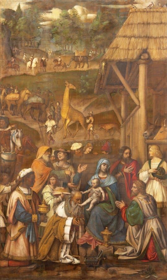 COMO, ITÁLIA - 8 DE MAIO DE 2015: A pintura Adoration of the Magi in Duomo por Bernardino Luini 1481-1532 imagens de stock