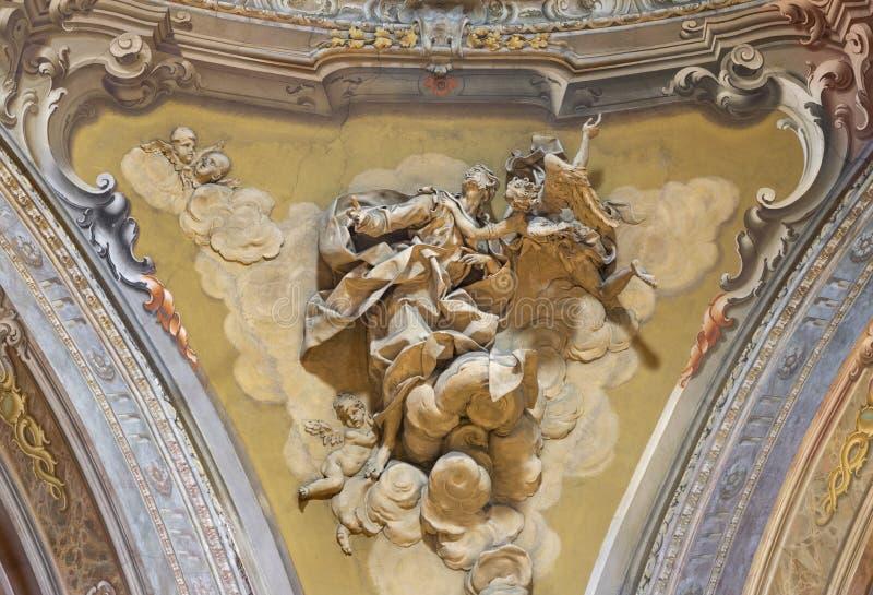 COMO, ITALIË - MEI 8, 2015: De gipspleister van helderziende Daniel binnen in koepel van kerk Santuario del Santissimo Crocifisso stock fotografie