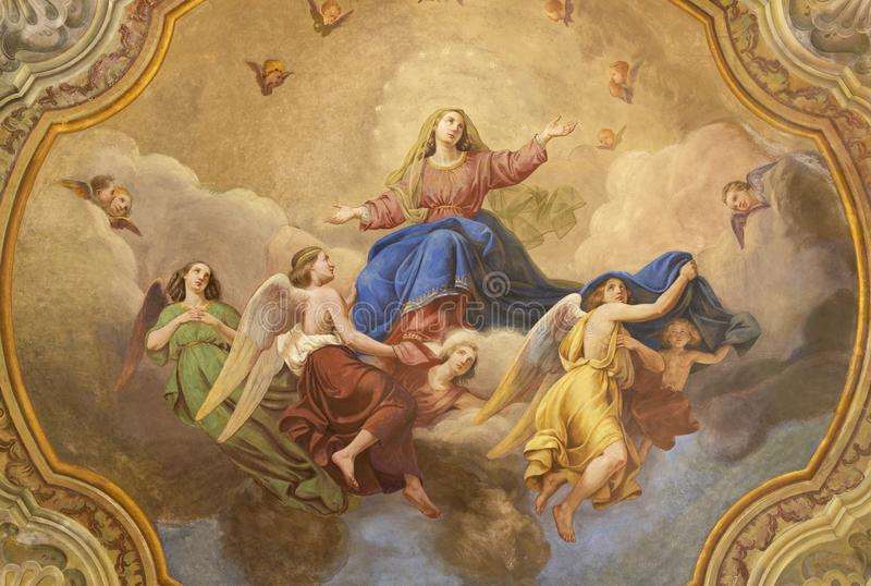 COMO, ITALY, 2015: The ceiling fresco of Assumption of Virgin Mary in church Santuario del Santissimo Crocifisso by Gersam Turri. COMO, ITALY - MAY 8, 2015: The stock images