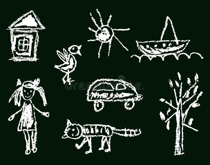 Como la mano del ` s del niño nave dibujada del árbol del coche del sol del gato del pájaro de la casa de la muchacha ilustración del vector