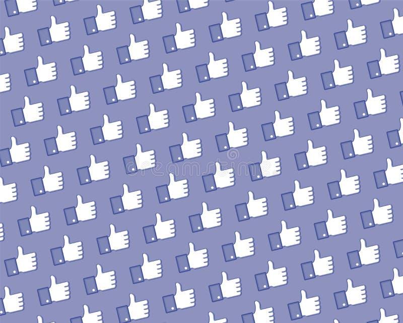 Como la pared de la insignia de Facebook ilustración del vector