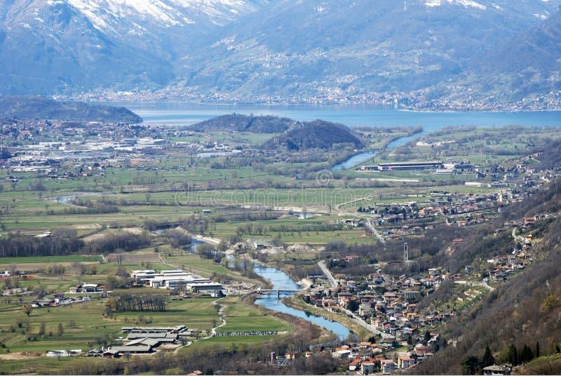 Como lake. A panoramic view of como lake in italy stock photo