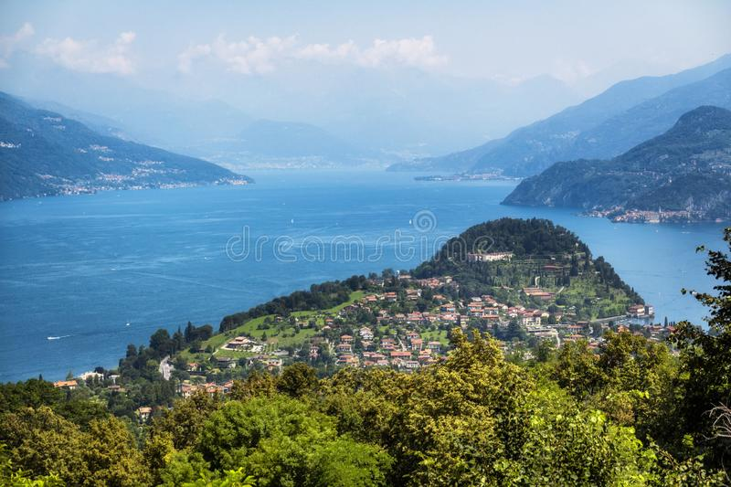 Como lake and Bellagio from above, view from Madonna del Ghisallo, Lecco, Italy stock photo