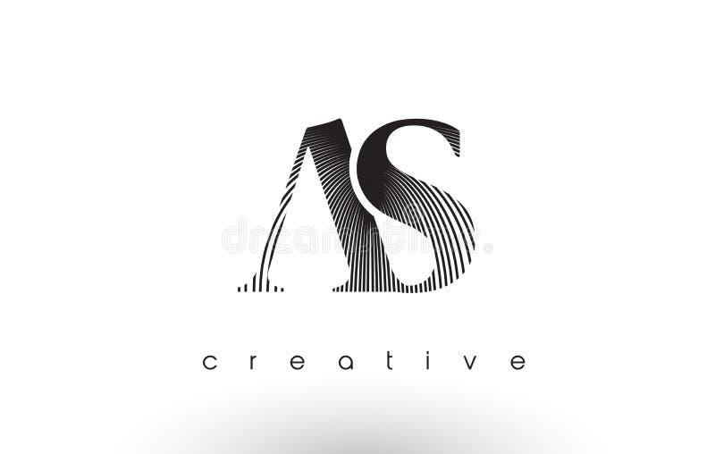 COMO Logo Design With Multiple Lines e cores preto e branco ilustração do vetor