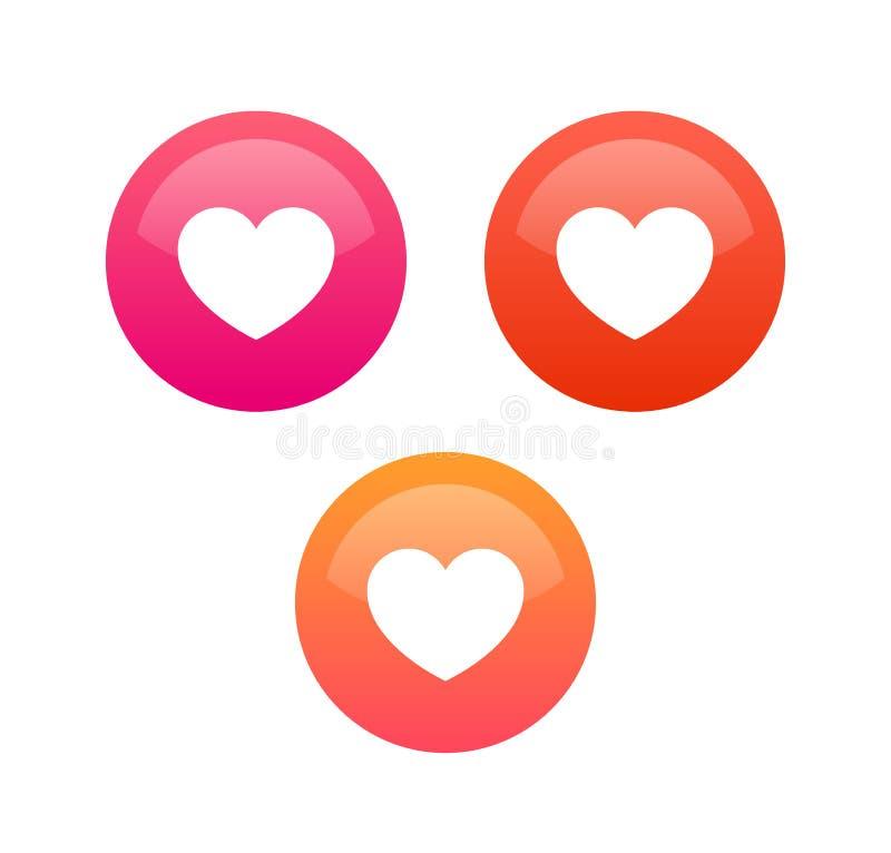 Como los iconos del corazón para la charla, la red social y la aplicación móvil, sistema de elemento del diseño del vector stock de ilustración