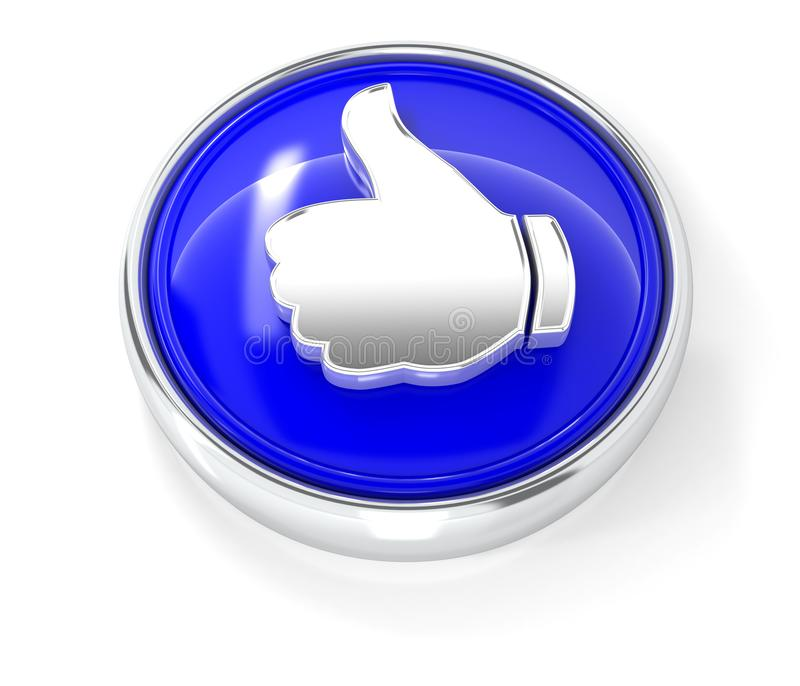 Como o ícone no botão redondo azul lustroso ilustração do vetor