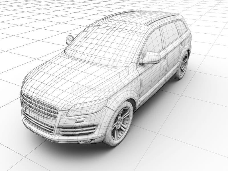 Como o carro é projetado ilustração do vetor