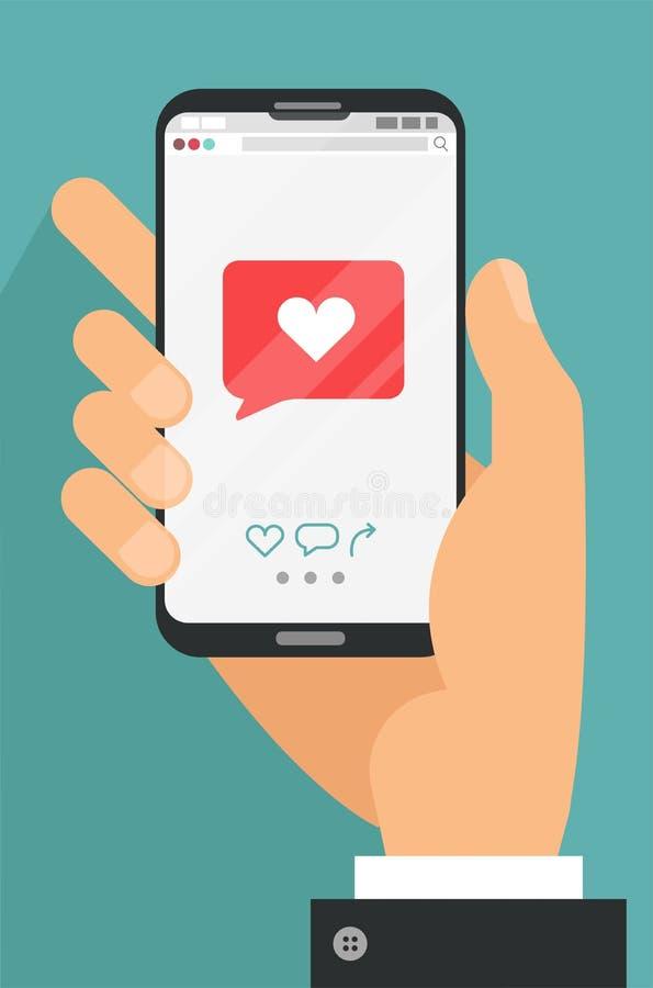 Como o conceito móvel móvel Smartphone masculino da terra arrendada da mão com mensagem do emoji do coração na tela, como o botão ilustração royalty free