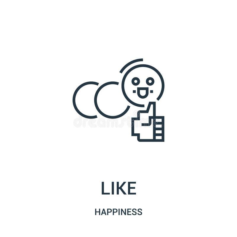 como o vetor do ícone da coleção da felicidade Linha fina como a ilustração do vetor do ícone do esboço Símbolo linear para o uso ilustração stock